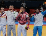 Londono olimpinių žaidynių nugalėtojas ir prizininkai (iš kairės): Arsenas Džulfalakianas (ARM), Aleksandras Kazakevičius, Romanas Vlasovas (RUS) ir  Eminas Ahmadovas (AZE)