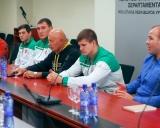 Iš kairės: treneris Ruslanas Vartanovas, Kristupas Šleiva, Mantas Knystautas, Rimantas Bagdonas, Vilius Laurinaitis ir treneris Mindaugas Ežerskis