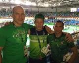 Edgaras Venckaitis su treneriais Mindaugu Ežerskiu ir Ruslanu Vartanovu
