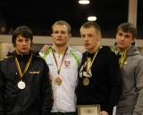 74 kg iš kairės: Denis Širvaitis (II v.), Andrius Mažeika (I v.), Nikita Gerasimovas ir Dovydas Bušeckas (III v.)