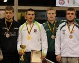 97 kg iš kairės: Simas Norkus (II v.), Erikas Bizunovičius (I v.), Laurynas Damidavičius ir Denisas Nedoboras (III v.)