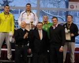 130 kg iš kairės: Mantas Knystautas (II v.), Mindaugas Mizgaitis (I v.), Artūras JAnkauskas ir Džiugas Ramukevičius (III v.), su svečiais Rimantu Bagdonu, Artūru Poviliūnu ir Virgilijum Alekna