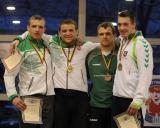 85 kg iš kairės: Julius Matuzevičius (II v.), Aleksandras Kazakevičius (I v.), Laimutis Adomaitis ir Martynas Nemsevičius (III v.)