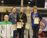60 kg iš kairės: treneris Mindaugas Ežerskis, Karolina Latožaitė (II v.), Kristina Domikaitytė (I v.), Paulina Žuklijūtė ir Darija Matvejeva (III v.)