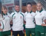 Iš kairės: Kornelija Zaicevaitė, treneris Aivaras Kaselis, Auksė Rutkauskaitė, Kamilė Gaučaitė