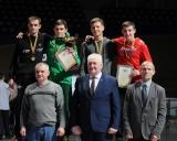 Nugalėtojai ir prizininkai (66 kg). Iš kairės: Rūtenis Uginčius (II vieta), Kristupas Šleiva (I vieta), Edgaras Gendvilis ir Gytis Kulevičius (abu III vieta). Pirmoje eilėje Rolandas Šleiva, Panevėžio savivaldybės mero pavaduotojas Aleksas Varnas ir LIF prezidentas Giedrius Dambrauskas