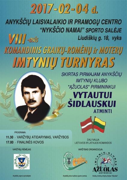 2017 m. V.Šidlausko turnyro plakatas