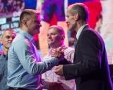 2017 imtynininku pagerbimas Siemens arenoje. Aleksandras Kazakevičius, Valdemaras Venckaitis ir Giedrius Dambrauskas