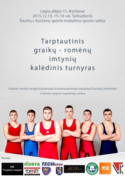 2015 m. Kuršėnų imtynių turnyro plakatas