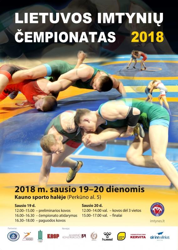 2018 LTU imtynių čempionato plakatas