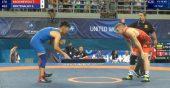 Pasaulio jaunių imtynių čempionate T.Kačiukevičius apmaudžiai pralaimėjo kirgizui (vaizdo įrašas)