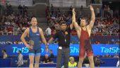 E.Voitechovskis pasaulio imtynių čempionate iškovojo pergalę ir patyrė pralaimėjimą (dvikovų vaizdo įrašai)